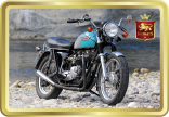 1970s Triumph Bonneville Motorbike tin image